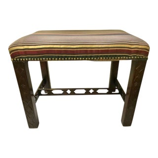 Mid 19th Century English Mahogany Carved Chippendale Stool For Sale