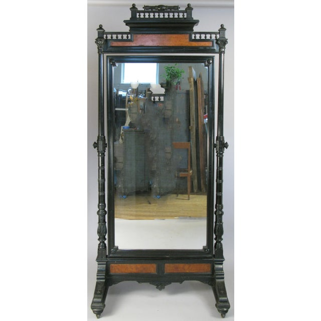 Black Antique 19th Century Ebonized & Burled Cheval Mirror For Sale - Image 8 of 9