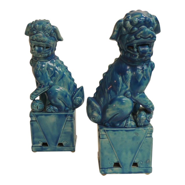 Vintage Ceramic Turquoise Foo Dog on Stand - a Pair - Image 1 of 5