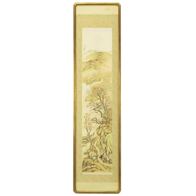 """67"""" Japanese Watercolor In Gilt Newcomb-Macklin Frame For Sale"""