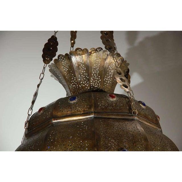 Vintage Moroccan Moorish Brass Chandelier, Alberto Pinto Style For Sale In Los Angeles - Image 6 of 10