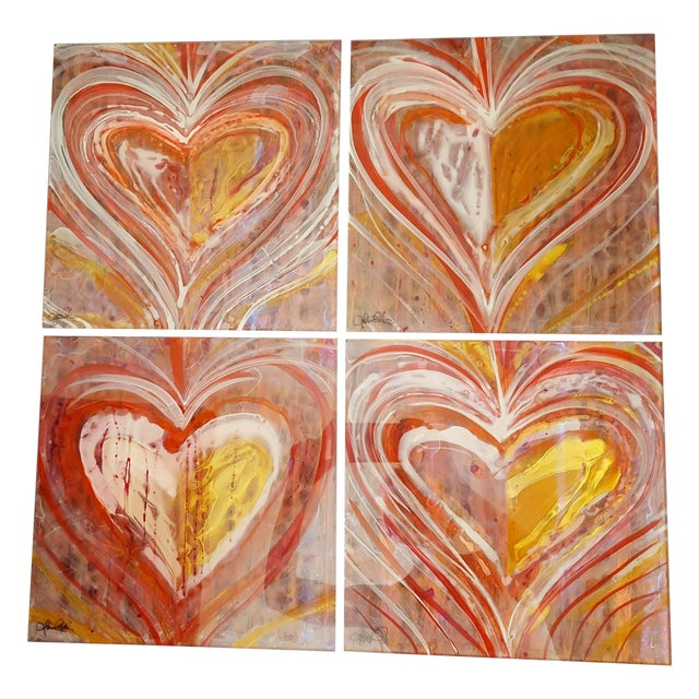 Christopher Martin Heart Paintings - Set of 4 - Image 1 of 10