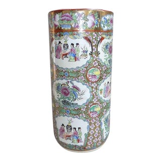 Chinese Rose Famille Scenic Umbrella or Cane Stand For Sale