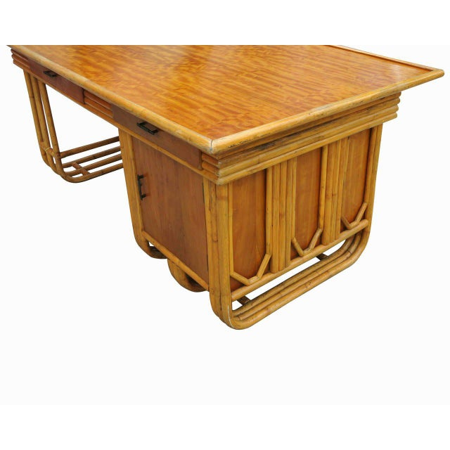 Restored Large Jean Royère Style Streamline Rattan Executive Desk For Sale - Image 5 of 8