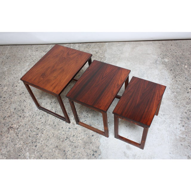 1960s Trio of Danish Rosewood Nesting Tables For Sale - Image 5 of 9