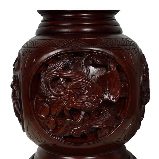 Vintage Chinese Hand Carved Rosewood Vase Chairish