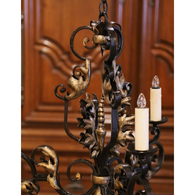 Late 19th Century 19th Century, French Louis XV Iron Black and Gilt Painted Three-Light Chandelier For Sale - Image 5 of 9
