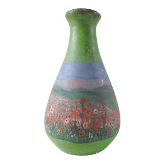 Vintage Hand Painted Pottery Vase With Red Poppies For Sale