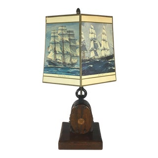 1960s Ship Pulley & Hook Nautical Lamp For Sale