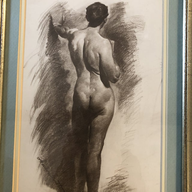 Beautifully framed pair of vintage lithos they look like charcoal 1 is 9.75 x 17.5 the other is 12.25 x 17.25 ( Overall size)