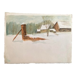 Winter Farm Snow Barn Watercolor Painting For Sale