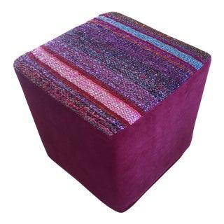 Boho Chic Frazada Purple Velvet Ottoman Stool
