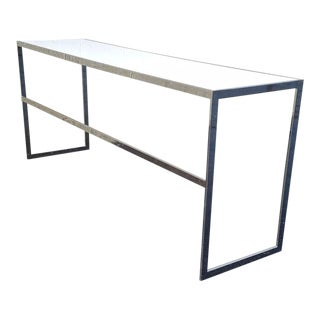 1980s Vintage Chrome Console Table Milo Baughman Era For Sale