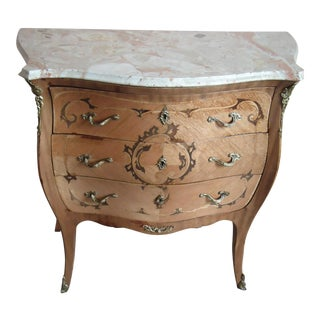 19th Century French Style Louis XV Marquetry Walnut Marble Top Commode For Sale