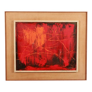 Mid Century Modern Abstract Fiery Red & Orange Oil on Board Painting For Sale