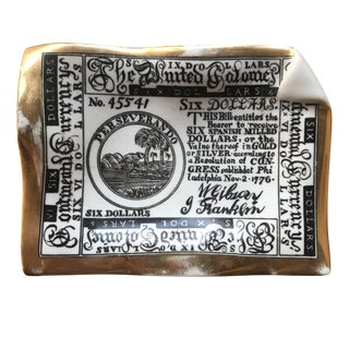 """""""The United Colonies"""" Piero Fornasetti Transfer-Printed Ceramic and Gold Smoking Accessory. Signature on Back. Milano/Made in Italy For Sale"""
