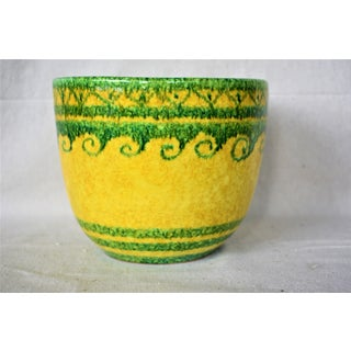 1980s Italian Green and Yellow Pottery Cachepot Preview