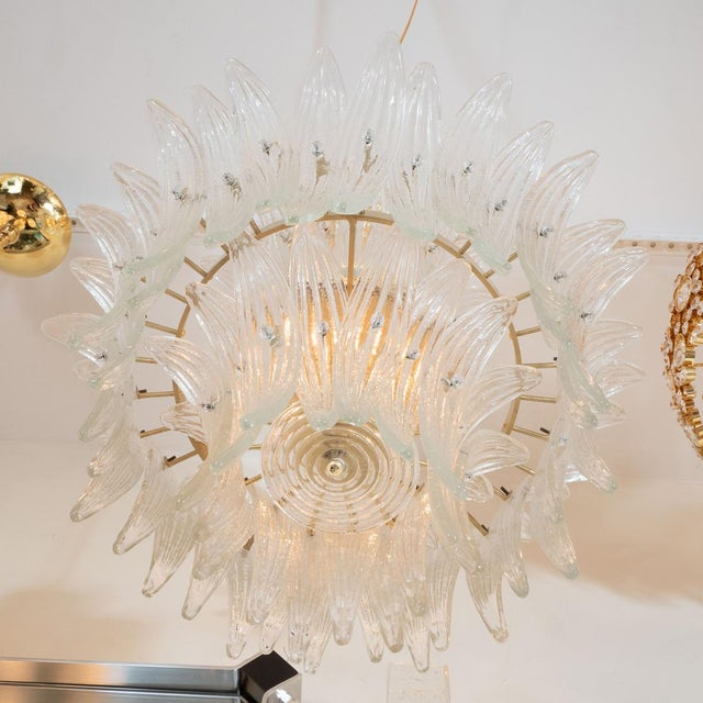 Barovier & Toso 1960s Murano Glass Tiered Palmette Fixture For Sale - Image 4 of 5