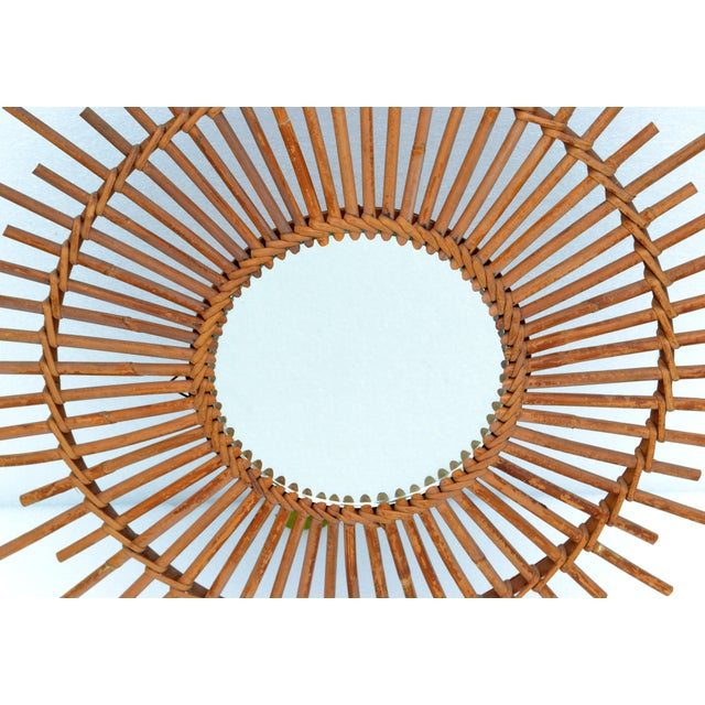 Bohemian Chic French Handcrafted Round Ficks Reed & Woven Wicker Wall Mirror For Sale In Miami - Image 6 of 13