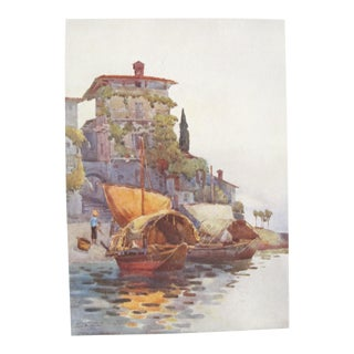 1905 Original Italian Print - Italian Travel Colour Plate - Fishing Boats, Lake Como For Sale