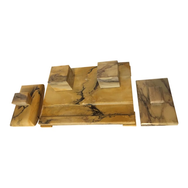 Italian Art Deco Siena Marble Double Inkwell Desk Set - 3 Pieces For Sale