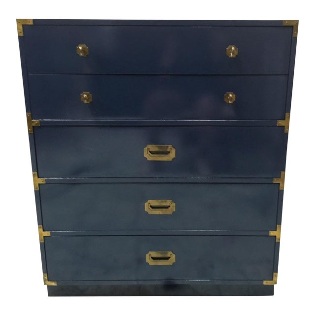 Bernhardt Navy Campaign Style Chest For Sale