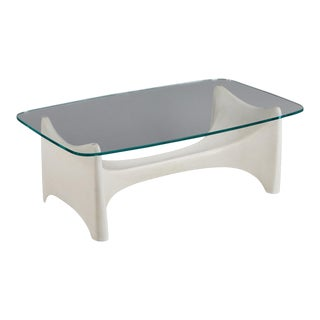 A Sculptural Fiberglass Coffee Table Base With Custom Glass Top For Sale