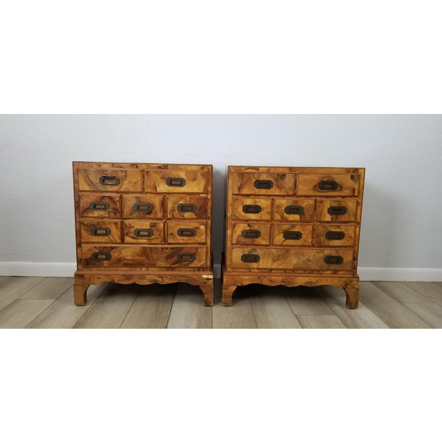 Italian Campaign Style Burlwood Patch Chest / Nightstands - a Pair For Sale - Image 13 of 13
