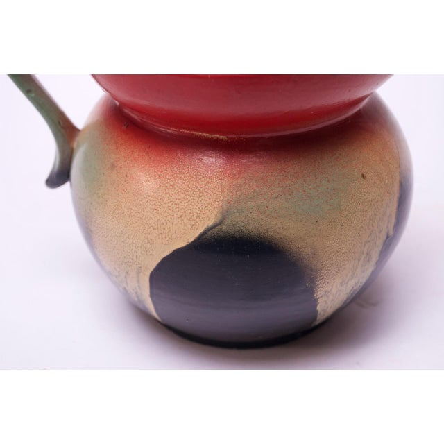Red Mid-Century Dutch Hand-Painted Ceramic Decorative Pitcher For Sale - Image 8 of 13