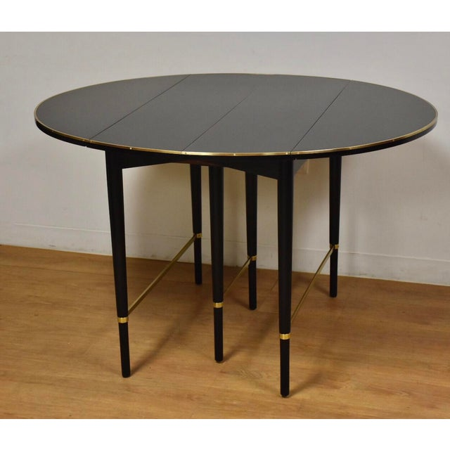 Paul McCobb Black Lacquer and Brass Dining Table For Sale - Image 11 of 11