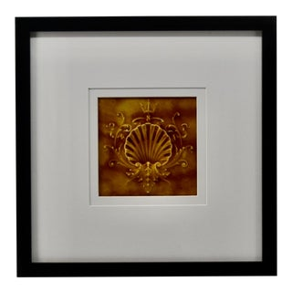 Antique Framed Ceramic Glazed Shell Tile For Sale