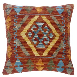 """Charlyn Red/Lt. Blue Hand-Woven Kilim Throw Pillow(18""""x18"""") For Sale"""