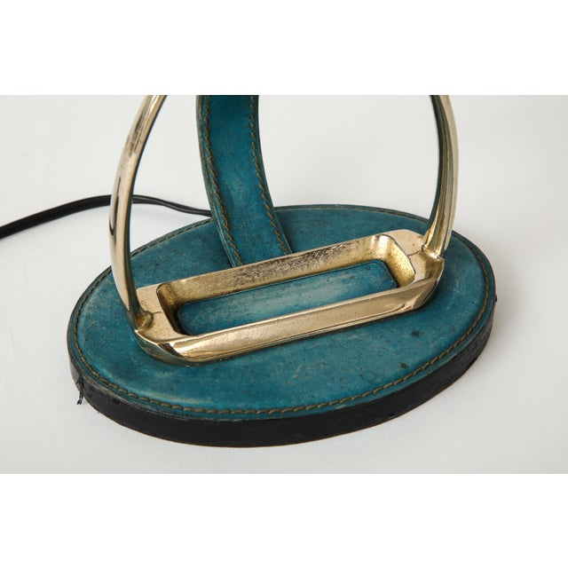 "Very Nice Blue Leather ""Stirrup"" Lamp in the Style of Jacques Adnet For Sale - Image 9 of 11"