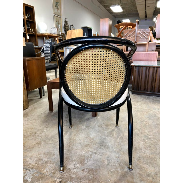 Vintage Mid-Century Howell Manufacturing Black Metal Cane Back Chair For Sale In Charleston - Image 6 of 8