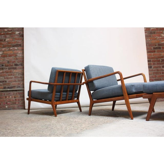 Pair of Mid-Century Walnut Armchairs and Ottoman by Mel Smilow - Image 4 of 11