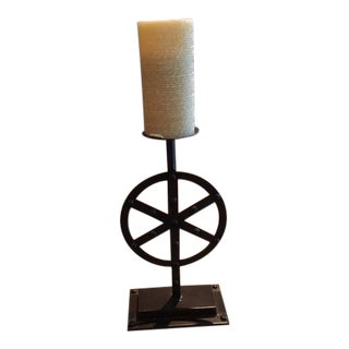 Industrial Style Wheel Candle Stick For Sale