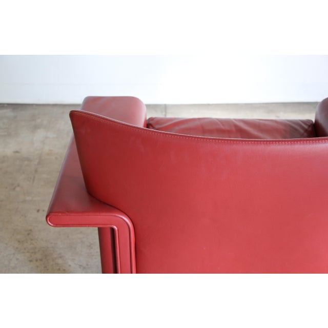 Raspberry Red Afra & Tobia Scarpa Leather Lounge Chair For Sale - Image 8 of 13