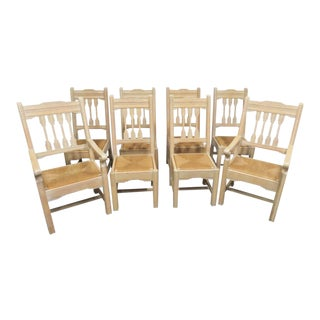 South Western Style Pine Carved Rush Seat Chairs - Set of 8 For Sale