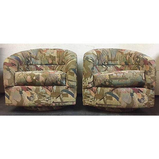 Pair Abstract Pattern Swivel Chairs - Image 2 of 6
