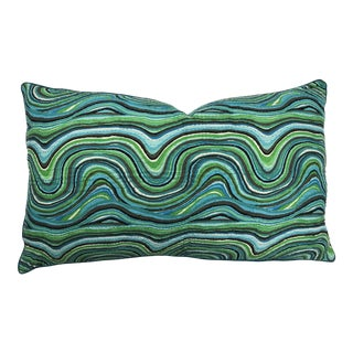 Boho Chic Blue and Green Patterned Velvet Body Pillow