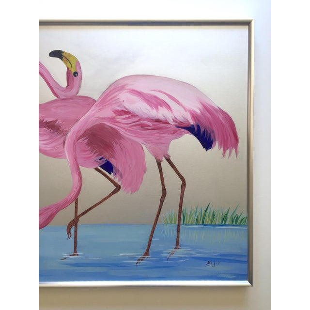 """Art Deco Rare Vintage 1950s Art Deco """" Pink Flamingos in Lagoon """" Framed Original Fine Art Gouache Painting on Board For Sale - Image 3 of 13"""