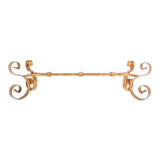 Hollywood Regency Gilt Scroll Wrought Iron Coffee Table Base For Sale