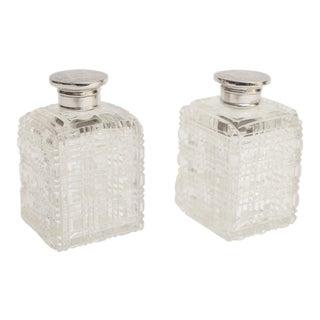 Silver & Crystal Perfume Bottles - a Pair