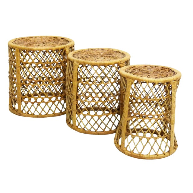 Vintage Bamboo & Rattan Stacking Tables - Set of 3 For Sale