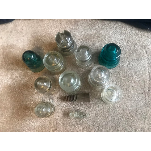 Aqua & Clear Glass Telephone Insulator - 12 Pieces - Image 3 of 11
