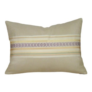 Pastel Japanese Silk Kaku Obi Pillow Cover For Sale