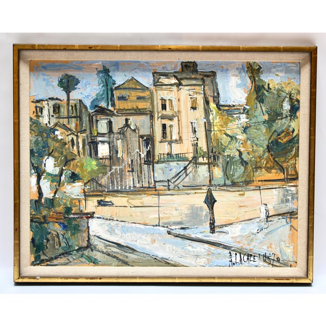 1970s 1970 City Scene Oil on Board Painting by Quebec Artist Alain Lacaze For Sale - Image 5 of 5