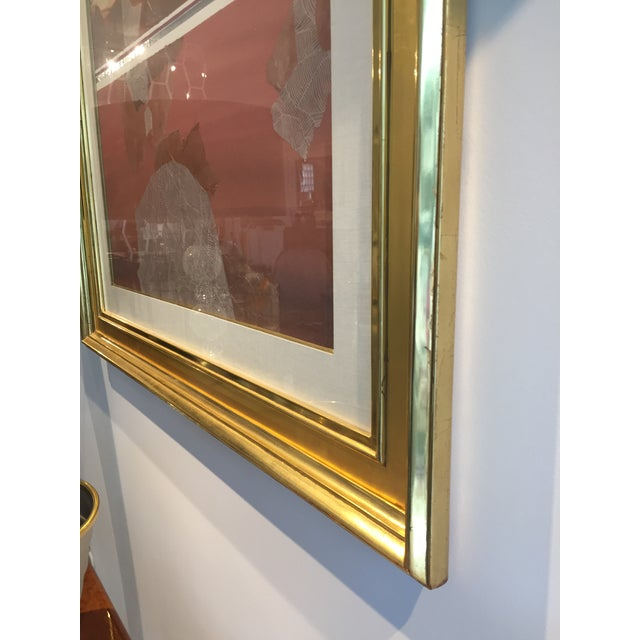 Abstract Harold Larsen Abstract Landscape Watercolor Painting in Gilt Frame For Sale - Image 3 of 7