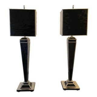 Modern Black Glass Lamps - a Pair For Sale