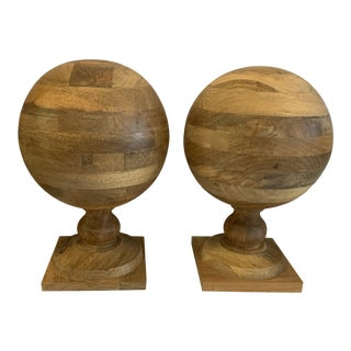 Jamie Young Co Wooden Spheres - a Pair For Sale